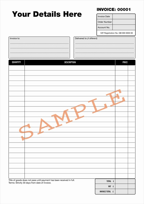 duplicate design - bespoke duplicate books and pads, Invoice examples
